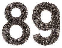 Arabische Ziffer 89, neunundachzig, vom Schwarzen eine natürliche Holzkohle, i Lizenzfreie Stockbilder