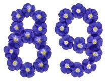 Arabische Ziffer 89, neunundachzig, von den blauen Blumen des Flachses, isola Stockbild