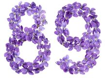 Arabische Ziffer 89, neunundachzig, von den Blumen der Viola, lokalisiert Stockfotografie