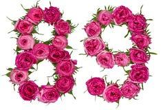 Arabische Ziffer 89, neunundachzig, von den roten Blumen von stieg, isolat Stockbilder