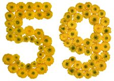 Arabische Ziffer 59, neunundfünfzig, von den gelben Blumen der Butterblume, Lizenzfreies Stockfoto