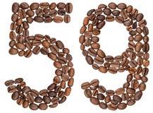 Arabische Ziffer 59, neunundfünfzig, von den Kaffeebohnen, lokalisiert auf wh Lizenzfreies Stockbild