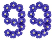 Arabische Ziffer 99, neunundneunzig, von den blauen Blumen des Flachses, isola Lizenzfreies Stockfoto