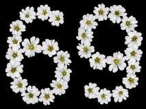 Arabische Ziffer 69, neunundsechzig, sechzig, sechs, neun, vom weißen Fluss Lizenzfreies Stockbild