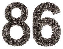 Arabische Ziffer 86, sechsundachzig, vom Schwarzen eine natürliche Holzkohle, ist Lizenzfreies Stockbild