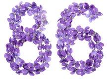Arabische Ziffer 86, sechsundachzig, von den Blumen der Viola, lokalisierte O Stockfotografie