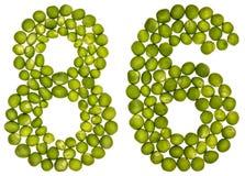 Arabische Ziffer 86, sechsundachzig, von den grünen Erbsen, lokalisiert auf Whit Stockfoto
