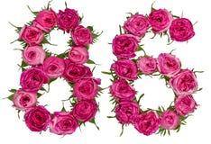 Arabische Ziffer 86, sechsundachzig, von den roten Blumen der Rose, Isolat Lizenzfreie Stockfotografie