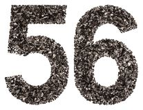 Arabische Ziffer 56, sechsundfünfzig, vom Schwarzen eine natürliche Holzkohle, ISO Stockfotografie