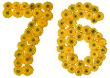 Arabische Ziffer 76, sechsundsiebzig, von den gelben Blumen der Butterblume Stockfotografie