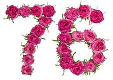 Arabische Ziffer 76, sechsundsiebzig, von den roten Blumen von stieg, isolat Lizenzfreies Stockfoto