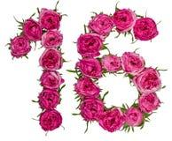 Arabische Ziffer 16, sechzehn, von den roten Blumen von stieg, lokalisiertes O Lizenzfreie Stockfotografie
