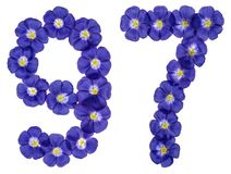 Arabische Ziffer 97, siebenundneunzig, von den blauen Blumen des Flachses, Isolator Stockfoto