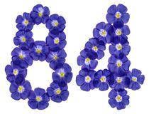 Arabische Ziffer 84, vierundachzig, von den blauen Blumen des Flachses, isola Stockfotos