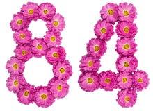 Arabische Ziffer 84, vierundachzig, von den Blumen der Chrysantheme, i Stockfotos