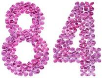 Arabische Ziffer 84, vierundachzig, von den Blumen der Flieder, lokalisiert Stockbild