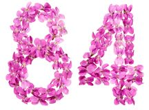 Arabische Ziffer 84, vierundachzig, von den Blumen der Viola, lokalisiert Stockfoto