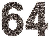 Arabische Ziffer 64, vierundsechzig, vom Schwarzen eine natürliche Holzkohle, ist Stockbild