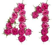 Arabische Ziffer 41, vierzig eins, von den roten Blumen von stieg, lokalisiert lizenzfreies stockfoto
