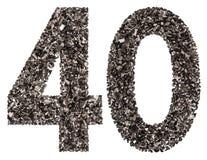 Arabische Ziffer 40, vierzig, vom Schwarzen eine natürliche Holzkohle, Isolat lizenzfreies stockbild