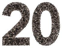 Arabische Ziffer 20, zwanzig, vom Schwarzen eine natürliche Holzkohle, isolat Lizenzfreie Stockfotografie
