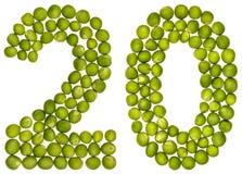 Arabische Ziffer 20, zwanzig, von den grünen Erbsen, lokalisiert auf weißem Ba Lizenzfreies Stockfoto