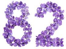 Arabische Ziffer 82, zweiundachzig, von den Blumen der Viola, lokalisierte O Lizenzfreie Stockfotos
