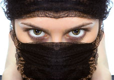 Arabischer Blick des grünen Auges der Frauennahaufnahmen Stockbild