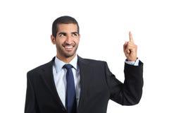 Arabischer Förderergeschäftsmann, der oben zeigt Stockbild