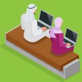 Arabischer Geschäftsmann, der an Laptop arbeitet Arabisches Geschäftsfrau hijab, das an einem Laptop arbeitet Vektor flaches 3d i Stockbilder