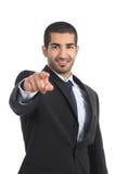 Arabischer Geschäftsmann, der Sie auf Kamera zeigt Stockfotografie