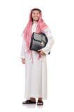 Arabischer Geschäftsmann mit dem Aktenkoffer lokalisiert Stockfotos