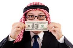 Arabischer Geschäftsmann mit dem Dollar lokalisiert Stockfoto