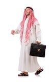 Arabischer Geschäftsmann mit dem Aktenkoffer lokalisiert Stockfotografie