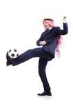 Arabischer Geschäftsmann mit Fußball Lizenzfreies Stockfoto