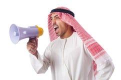 Arabischer Mann, der durch Lautsprecher schreit stockfotografie