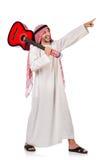 Arabischer Mann, der Gitarre spielt Stockbild