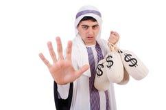 Arabischer Mann mit Geldsäcken Stockfotografie