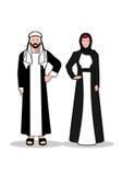 Arabischer Mann und Frau Im traditionellen arabischen Kleid auf einem weißen Hintergrund Lizenzfreie Stockfotografie