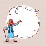 Arabischer Mann und leerer Rahmen für Eid-Festivalfeier stock abbildung