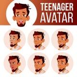 Arabischer, moslemischer jugendlich Jungen-Avatara-Satz-Vektor Stellen Sie Gefühle gegenüber Benutzer, Charakter Spaß, nett Karik lizenzfreie abbildung