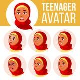 Arabischer, moslemischer jugendlich Mädchen-Avatara-Satz-Vektor Hijab Stellen Sie Gefühle gegenüber emotional Freizeit, Lächeln K stock abbildung