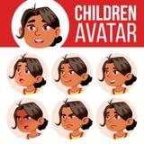 Arabischer, moslemischer Mädchen-Avatara-Satz-Kindervektor kindergarten Stellen Sie Gefühle gegenüber Karikatur, komisch, flach W lizenzfreie abbildung