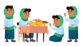Arabischer, moslemischer Mädchen-Satz-Vektor Gebet Religion Frühstücks-traditionelle Kleidung Für Fahne Flieger, Webdesign Getren vektor abbildung