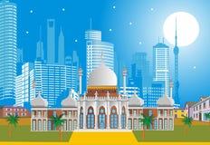 Arabischer Palast auf dem Hintergrund der modernen Stadt lizenzfreie abbildung