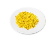 Arabischer Reis mit Rosinen und Acajoubaum Stockfoto