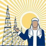 Arabischer Scheich gegen Ölquellen wird dargestellt Stockfotos
