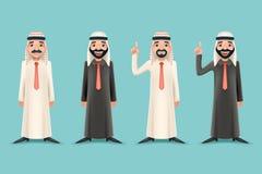 Arabischer traditioneller nationaler Moslem kleidet 3d realistischen Geschäftsmann Cartoon Character Icon auf dem stilvollen Retr Stockbilder