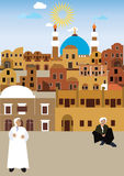 Arabisches Dorf in der Wüste lizenzfreie abbildung