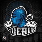 Arabisches Geistblaugesicht im Profil mit Bart und Sense Logo für irgendwelche Sportteamgeister auf Dunkelheit stock abbildung